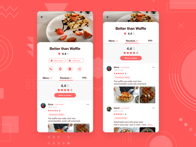 Restaurant Review App dessert food reviews rating review vector mobile app design mobile app flat mobile app ui ux dailyuichallenge