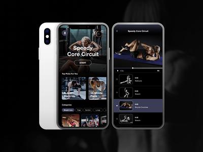 Fitness App home fitness club fitness app mobile app design challenge training stretch yoga health fitness design mobile app dailyuichallenge ui ux