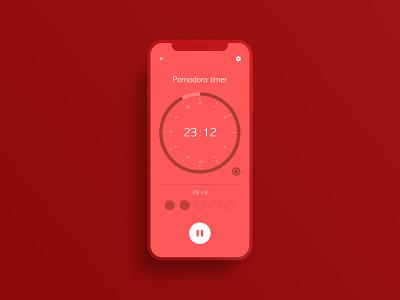 Countdown Timer App(Pomodoro) tomato pomodoro app flat mobile app mobile countdown timer countdown time uiux ui timer