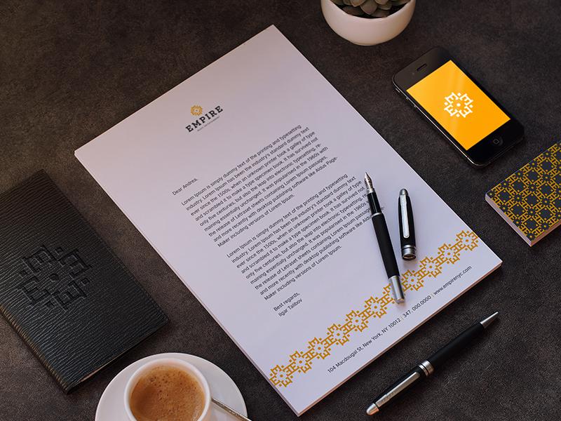 Empire pattern card business letterhead branding identity style corporate