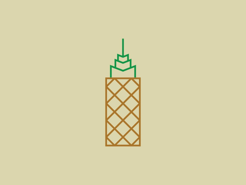 Pineapple Tower logotype mark architecture pineapple real estate building flat vector design logo