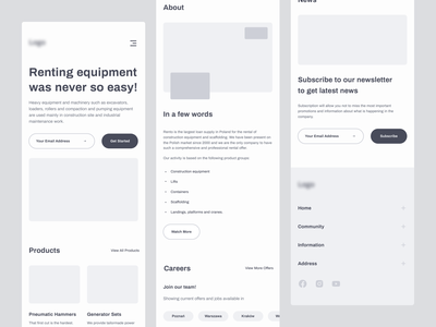 Mobile - Wireframes website interaction layout grid research components gray simple mobile wireframe poland rental figma sketch product app uiux ux ui design