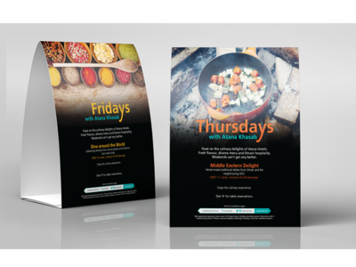Table tent card for F&B promo atana hotels tent card