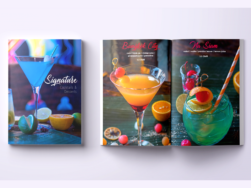 Signature Cocktails  Booklet photography cocktails restaurant menu fb design brochure