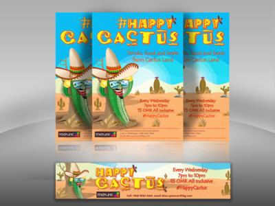 Happy Cactus fb design illustration banner restaurant happy cactus cactus mexican food themenight mexican
