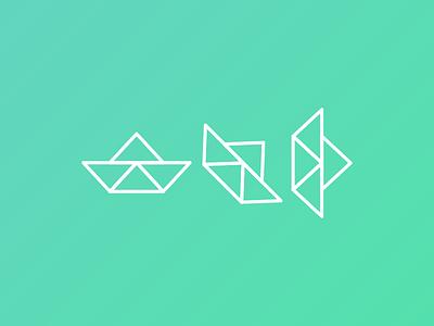 Logo proposal ecology origami paper ship
