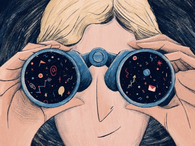 Tools for Project Managers to Travel in Time future blue project management binoculars editorial illustration illustration