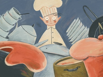 How to Know If Another Project Fits in Your Schedule editorial illustration illustration project management anxiety kitchen food chef hat chef cooking