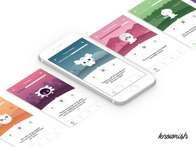 Knowrish - A funny Interesting facts Application illlustration ux ui iphone ios app