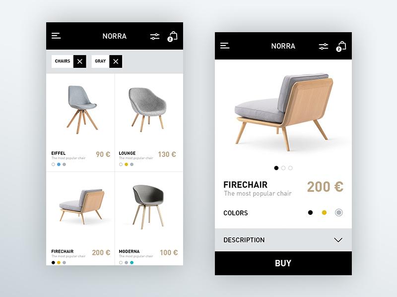 Norra scandinavian white black minimal chair furniture shop graph clean mobile app