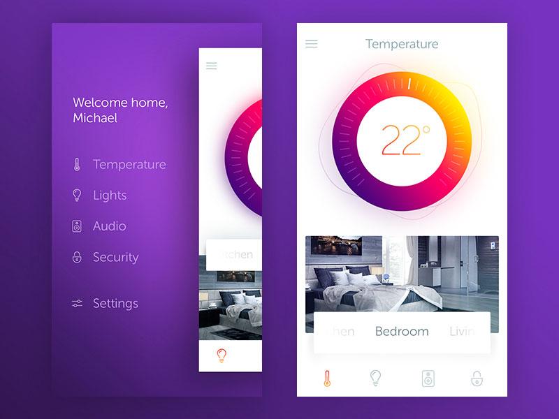 Smart Home mobile application clean ui modern intelligent temperature home smart