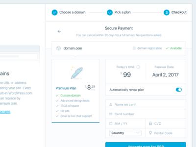 Modal Checkout form plans domain checkout modal ui