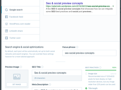 Seo social optimizations preview social seo modal ui