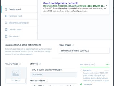 Seo social optimizations preview social seo modal ui