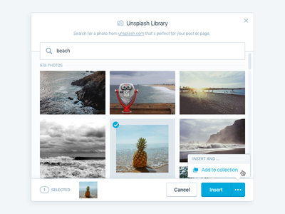 Media Library - Unsplash media library wordpress unsplash modal ui