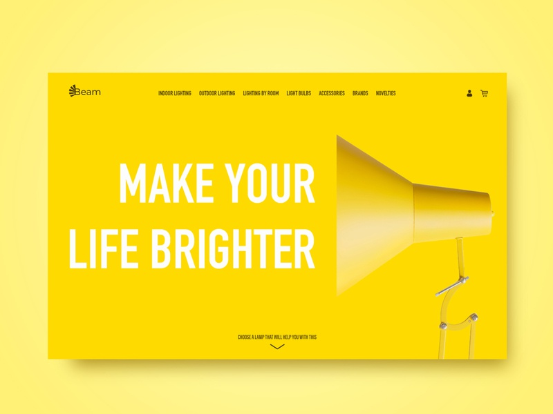 Online shop of lamps. Web design