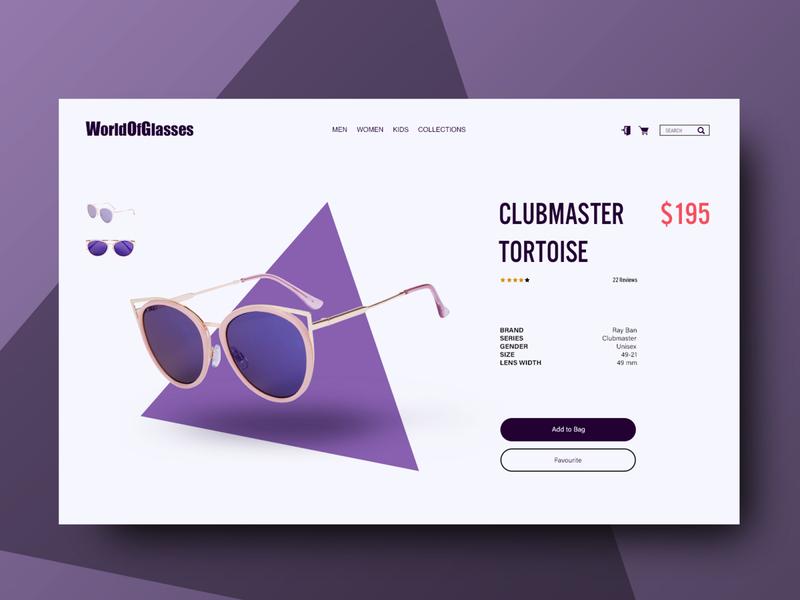 Online sunglasses store. Web design