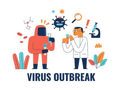 Virus Outbreak (COVID-19) Coronavirus stay healthy illustrations illustration doctors medic healthy health fever cough sick coronavirus covid19 virus outbreak virus