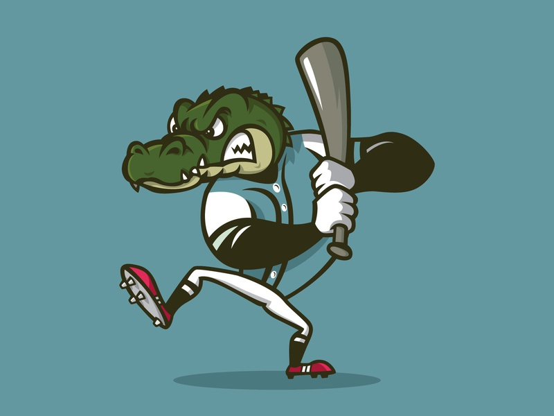 Crocodile Playing Baseball