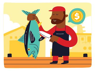 FISHERY illustration man fishery fisherman fishes fish