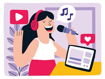 GIRL SINGING ONLINE youtube musician music hobby streaming singing singer sing girl illustration girl