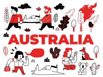 Animals Rescued From Australia's Bushfires australian australia megafire australia bushfires koala bear kangaroo australia fire wildfire illustration design australia wildfire australia