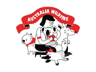 Australia Wildfire Campaign drawing illustration art koala bear kangaroo australia fire australia megafires illustration australia megafire australia australia bushfires australia wildfire