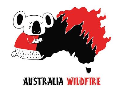 Australia Wildfire Campaign: Koala illustration koala australia megafire australia wildfire australia fire australia bushfires illustration art