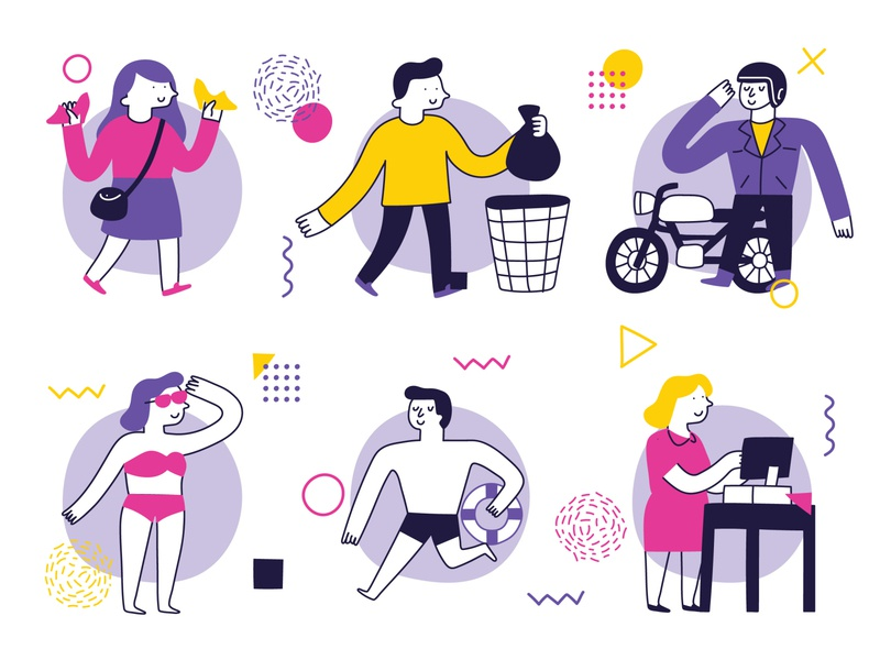 People Activities drawing illustration art illustrations illustration playing cleaning pet cooking working swiming motorcycle riding shopping dialy activity activity people activity peoples people