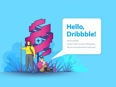 Hello, Dribbble! vector illustration vector art illustrator minimalistic simplistic branding design vector illustration hello dribbble hellodribbble
