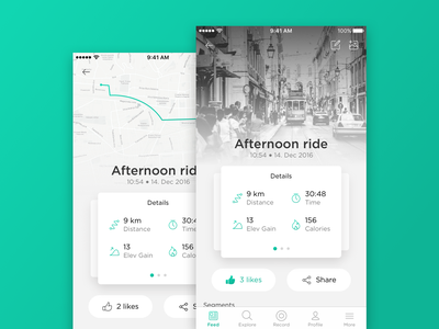 Activity Tracking App / UI Challenge #9 running map flat cycling application calories tracking simple clean mobile app