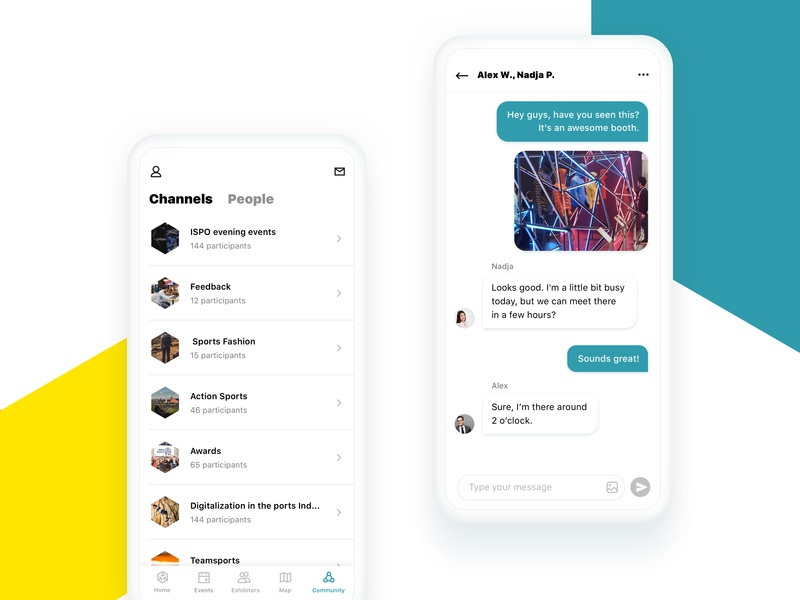 Messe Connect — Community talk bubble talk trade fair channels chat android ios ux ui