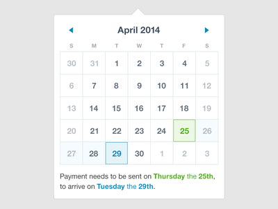 Calendar payments calendar actions dates delivery range picker