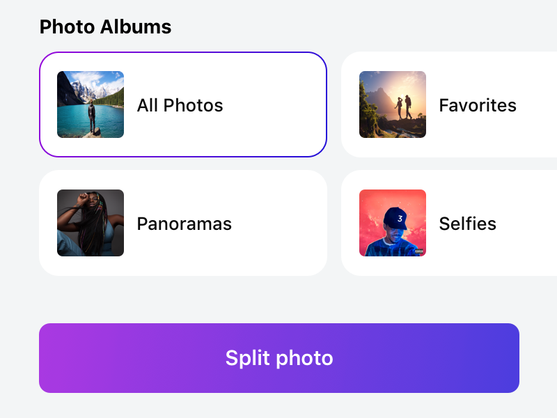 Panols II panoramas gallery photos app store app iphone gradients redesign panols ui light