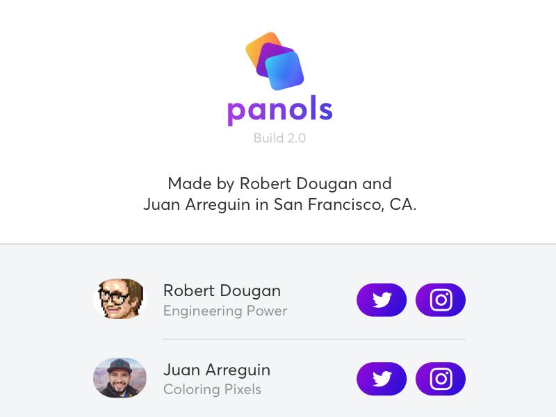 Panols Credits dialog modal splits panoramas ios gradient vibrant logo branding redesign panols instagram