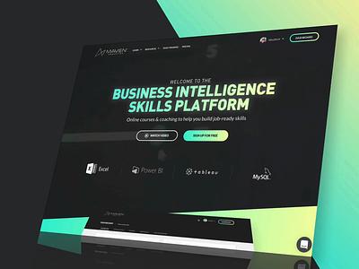 Maven Analytics - Homepage & Web App drawer cards platform software design ux ui web design web app e-learning landing page