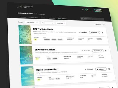 Maven Analytics Data Playground webapp web design analytics web design ui
