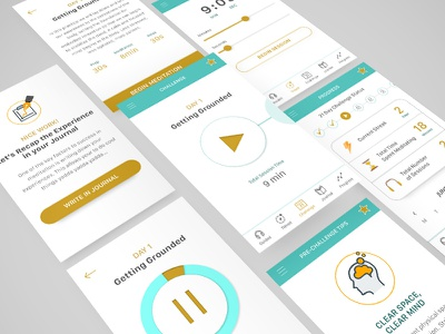 Mobile App UI Design application illustration meditation ios ux ui app mobile