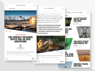 Lifestyle Blog - Mobile Design adventure outdoors iphone travel blog lifestyle ui app mobile
