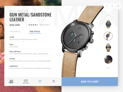 Product Card UI - Experiment  mens fashion shopping quick view ecommerce watch mvmt ui product card