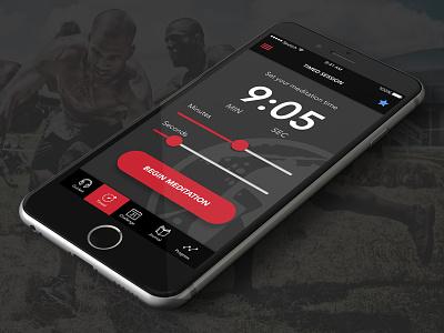 Spartan Race Meditation Challenge - iOS App set time timer meditation dark theme spartan mobile ios