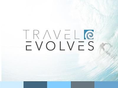 Travel Evolves Logo Design san-serfi thin action sports adventure wave modern travel surfing branding logo