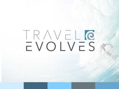 Travel Evolves Logo Design san-serfi thin action sports adventure wave modern travel surfing branding logo
