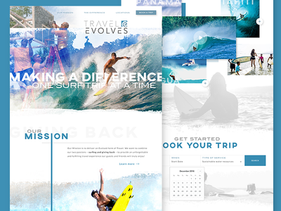 Homepage Design - Travel Evolves landing page ui service community adventure surfing travel branding web design