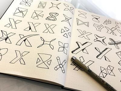 X-Icon Sketches mark icon x sketch branding logo