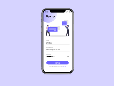 Daily UI Day 1 - Sign up Page beginner challenge mobile simple basic ui sign up dailyui