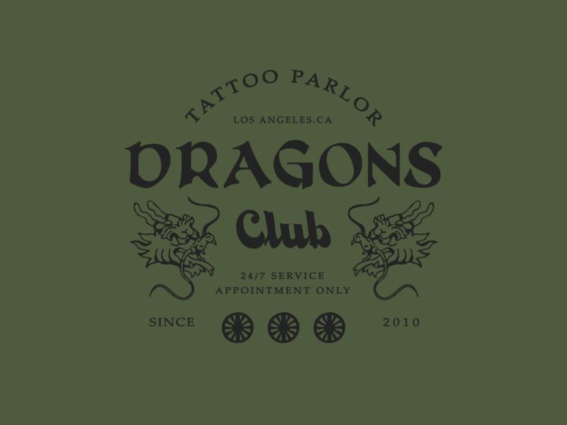 Dragons club artwork artworkforsale typography apparel design clothing design branding badge design art illustration design