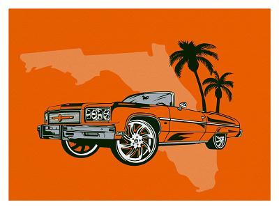 Florida Donk drawing florida car design graphic branding illustration