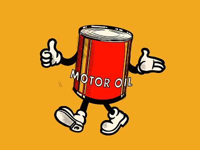 Mr. Motor Oil mascot garage racing car motor can oil identity design badge branding lockup graphic logo illustration