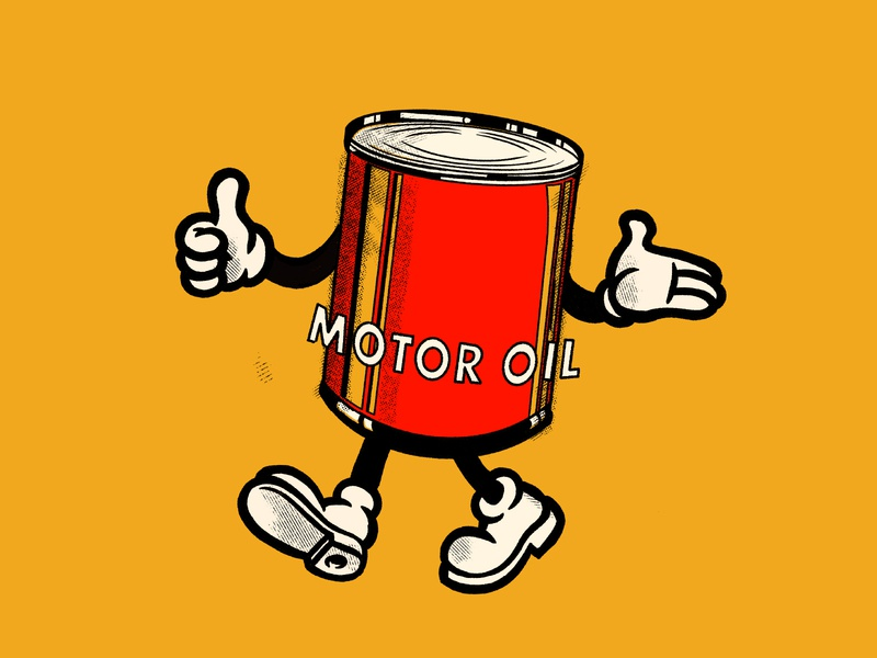 Mr. Motor Oil mascot garage racing car motor can oil identity design badge branding lockup graphic logo illustration